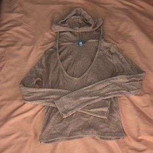 Size small- pink cropped-Long sleeve with hood